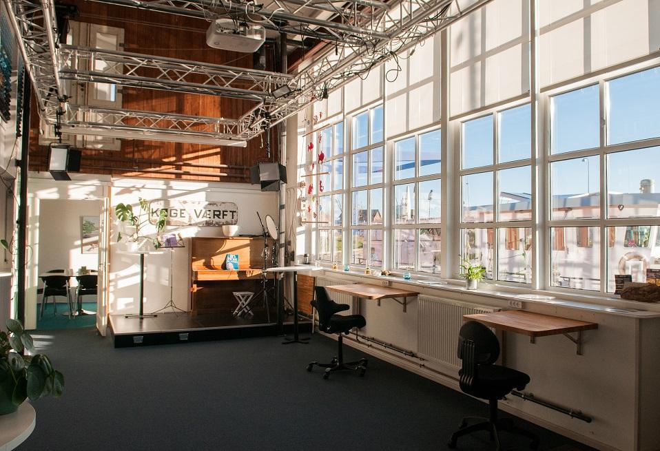 Flyverpladser på Kontorhotellet Værftet i Køge