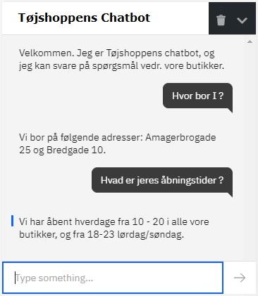 Tøjshoppen Chatbot